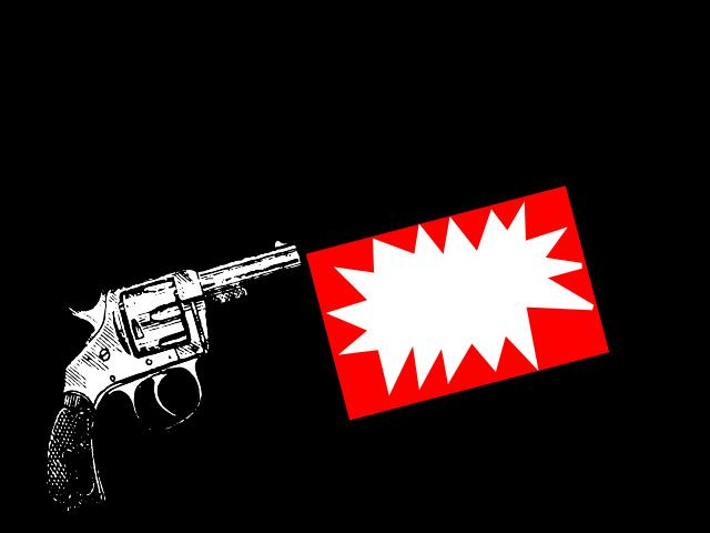 A gun shooting a cloth flag with a blank caption bubble.