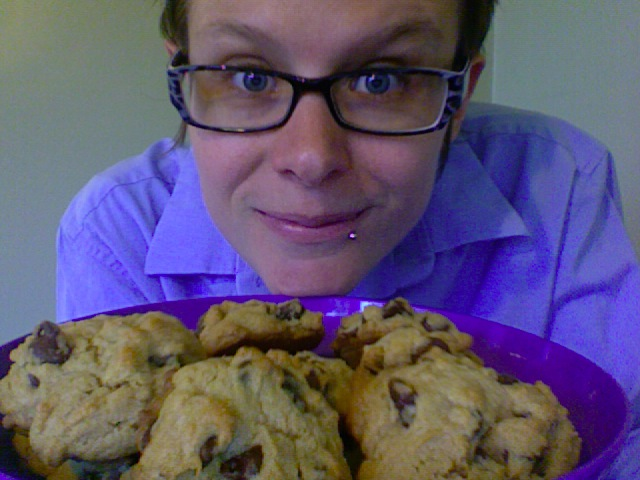 Beth Mattson holding a plate of cookies